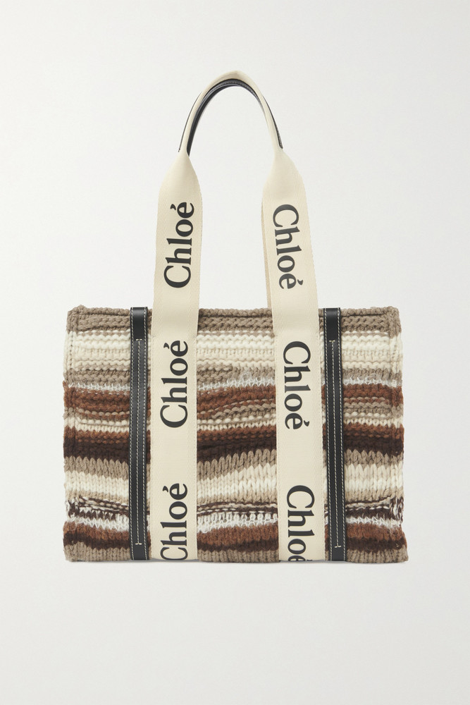 Chloé Chloé - Woody Medium Leather-trimmed Striped Recycled Cashmere-blend Tote - Black