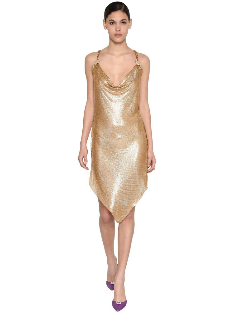 GIUSEPPE DI MORABITO Asymmetrical Metal Mesh Dress in gold