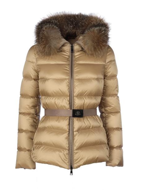 Moncler Tatie Belt Fur Neck Short And Belted in brown
