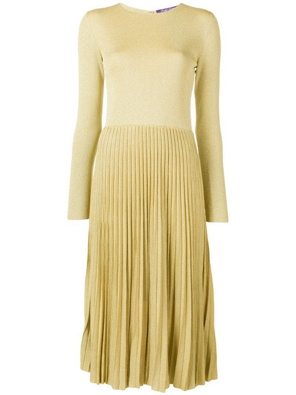 Ralph Lauren Collection lurex knit pleated dress in gold