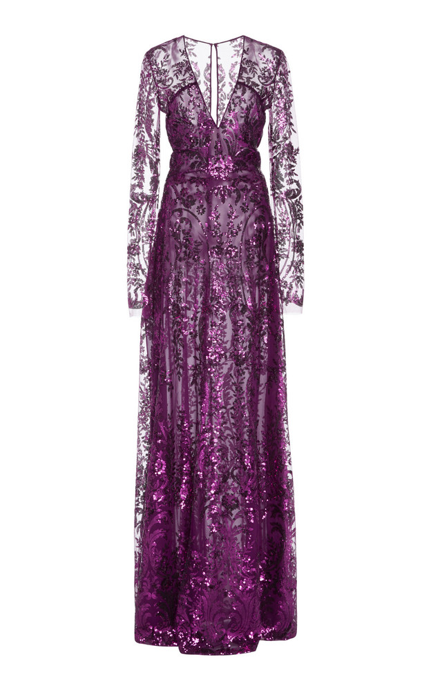 Naeem Khan Sequined Tulle Gown Size: 2 in purple