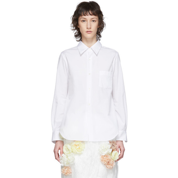 Comme des Garcons White Exaggerated Back Pleat Shirt