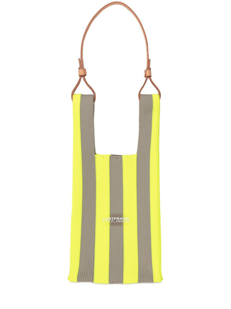 LASTFRAME Small Stripe Market Bag W/ Leather Strap in yellow / beige