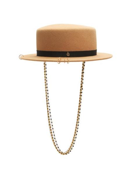 Maison Michel - Augusta Chain-embellished Felt Boater Hat - Womens - Light Brown