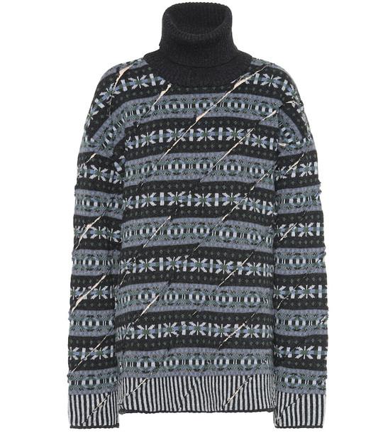 Y/PROJECT Wool turtleneck sweater in blue
