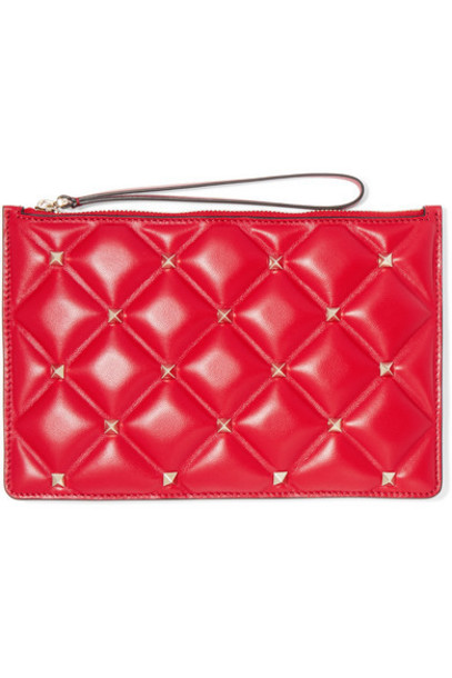 Valentino - Valentino Garavani Candystud Medium Quilted Leather Pouch - Red