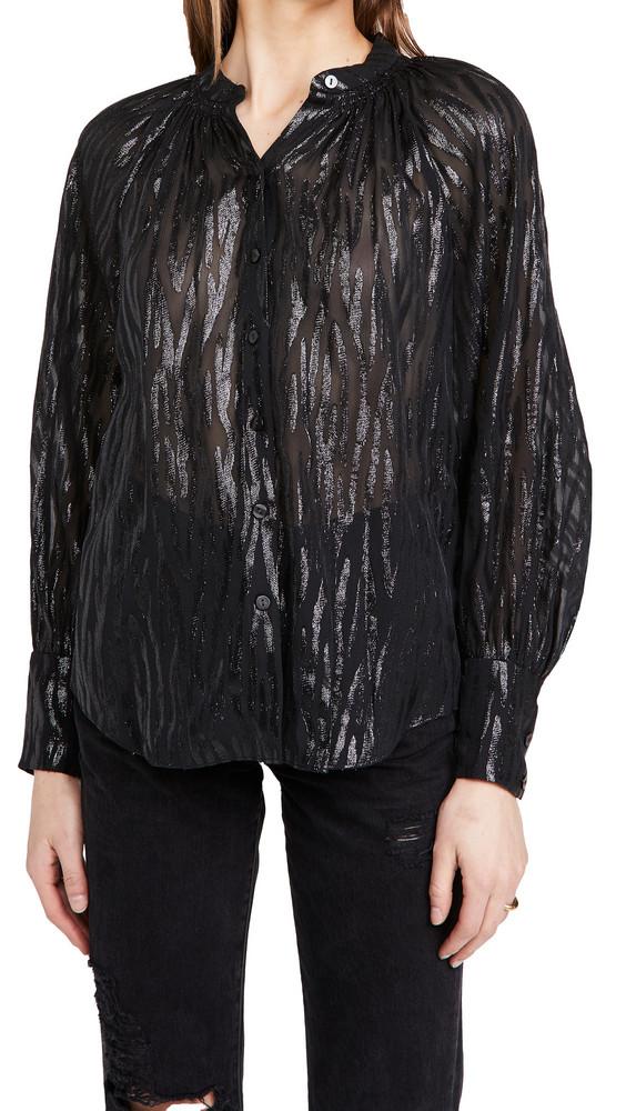 Rebecca Taylor Long Sleeve Safari Blouse in black