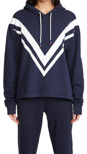Tory Sport French Terry Chevron Hoodie in navy / white