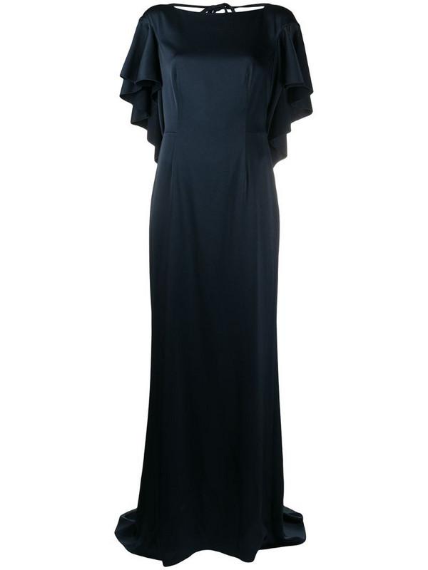 Paule Ka ruffled layer long dress in blue