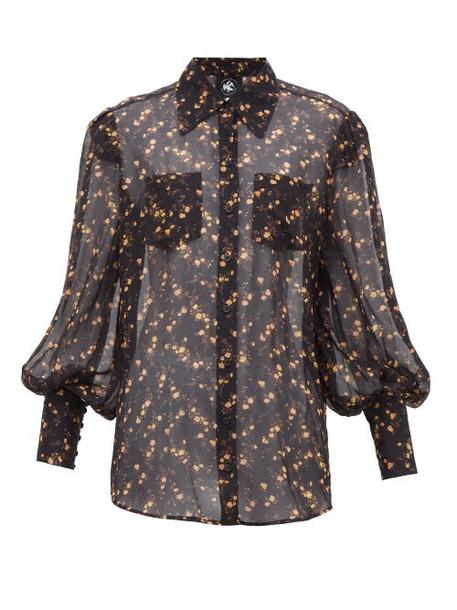 Current/elliott X Vampires Wife - Runway Floral Print Sheer Chiffon Shirt - Womens - Black