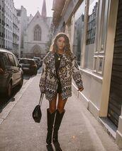 jacket,oversized jacket,black and white,black boots,knee high boots,black bag,black dress,mini dress