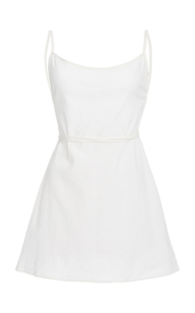 Anemone Back-Tied Linen and Cotton Mini Dress in white