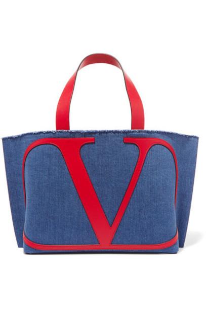 Valentino - Valentino Garavani Go Logo Small Leather-trimmed Denim Tote - Navy