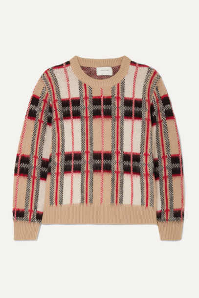 MUNTHE - Checked Knitted Sweater - Camel