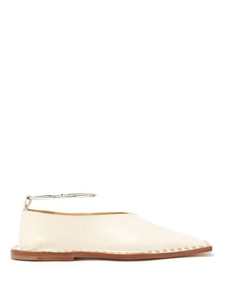 Jil Sander - Studded Square Toe Leather Ballet Flats - Womens - Cream