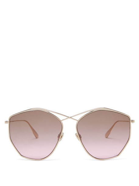 Dior Eyewear - Diorstellaire4 Hexagonal Metal Sunglasses - Womens - Gold