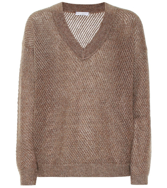 Brunello Cucinelli Mohair and cashmere-blend sweater in brown