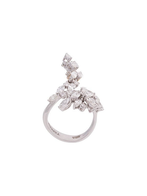 Yeprem diamond embellished ring in gold / white