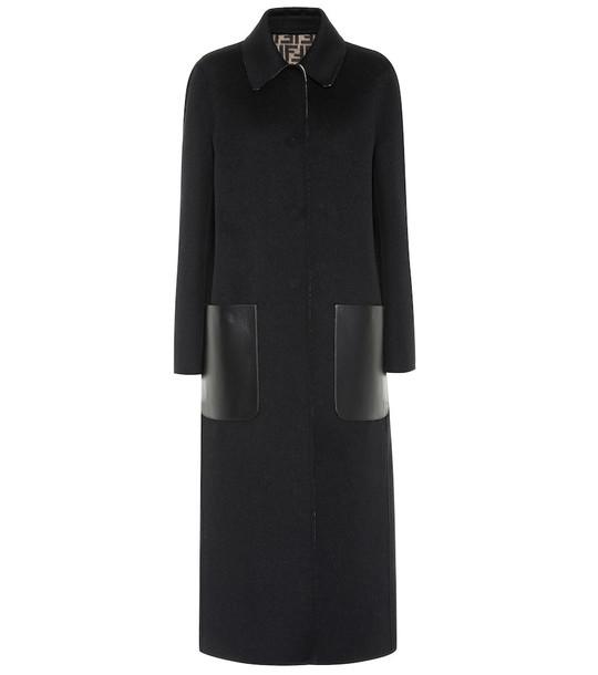 Fendi Reversible leather-trimmed wool coat in black