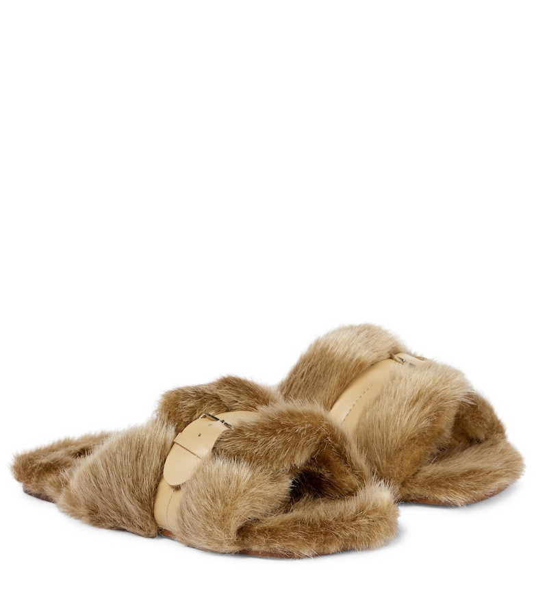 Clergerie Irina leather-trimmed faux fur slides in brown
