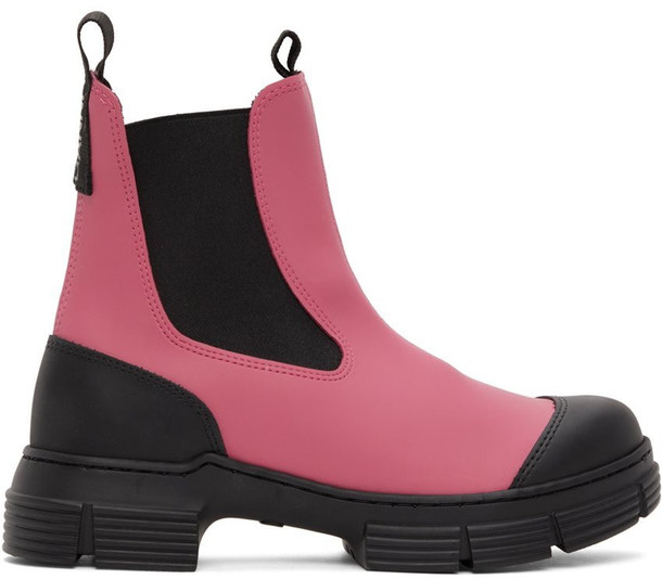 GANNI Pink & Black Recyled Rubber Chelsea Boots