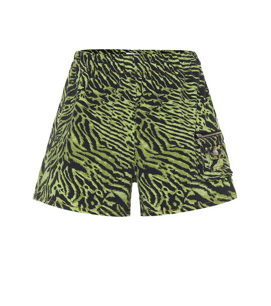 Ganni Tiger-print stretch-cotton shorts in green