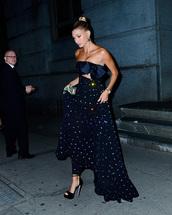 shoes,embellished dress,celebrity,strapless,hailey baldwin,gown,platform sandals