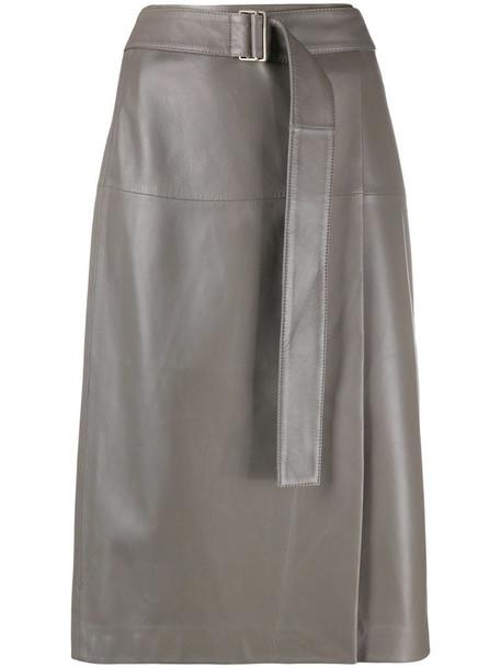 Joseph belted-waist A-line skirt in grey