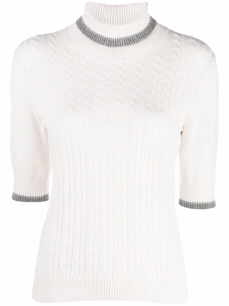 D.Exterior cable-knit jumper - White