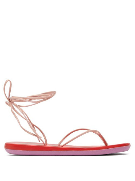 Ancient Greek Sandals - Bi Colour Wraparound Leather Sandals - Womens - Pink Multi