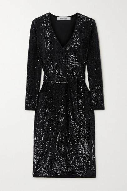 Diane von Furstenberg - Melina Belted Sequined Chiffon Dress - Black