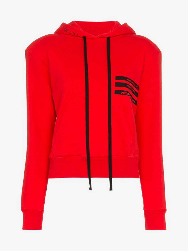 Unravel Project Cropped Hooded Cotton Jumper in red