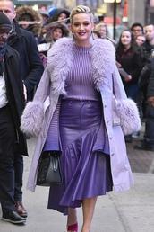 skirt,lilac,katy perry,celebrity,asymmetrical,asymmetrical skirt,purple,midi skirt,coat