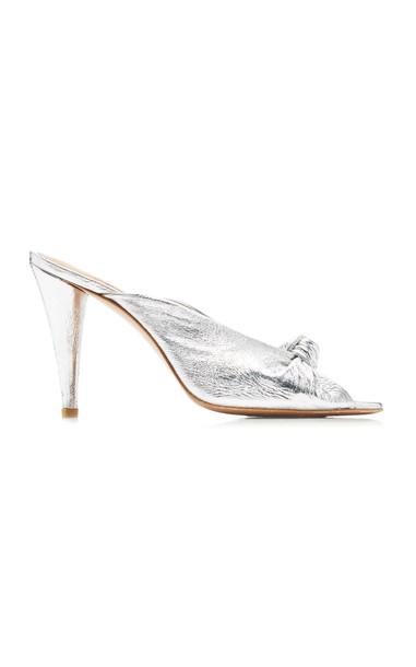 Veronica Beard Pari Leather Sandals in silver