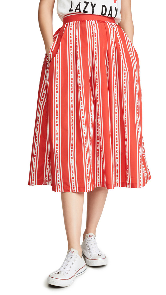 Etre Cecile Stripe Amelie Skirt in red / white