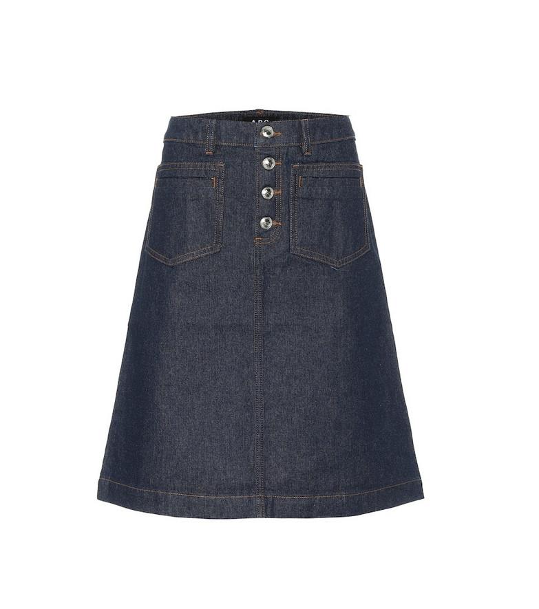 A.P.C. Michelle cotton denim skirt in blue