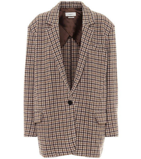 Isabel Marant, Étoile Kaito houndstooth virgin-wool blazer in brown