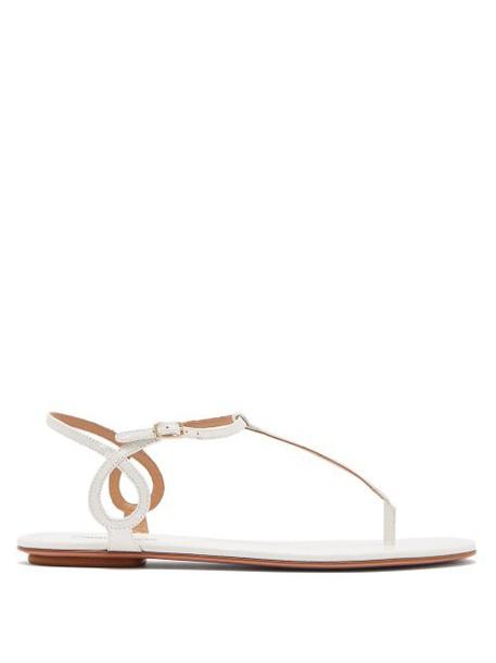 Aquazzura - Almost Bare Crocodile Embossed Leather Sandals - Womens - White