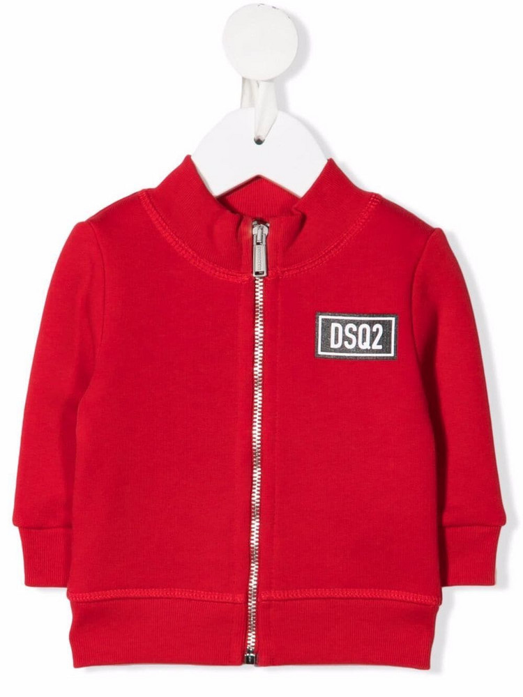 Dsquared2 Kids logo-patch bomber jacket in red