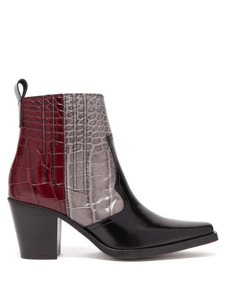 Ganni - Callie Crocodile Effect Leather Ankle Boots - Womens - Black Multi