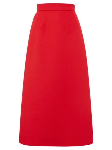 Dolce & Gabbana - Wool Midi Skirt - Womens - Red