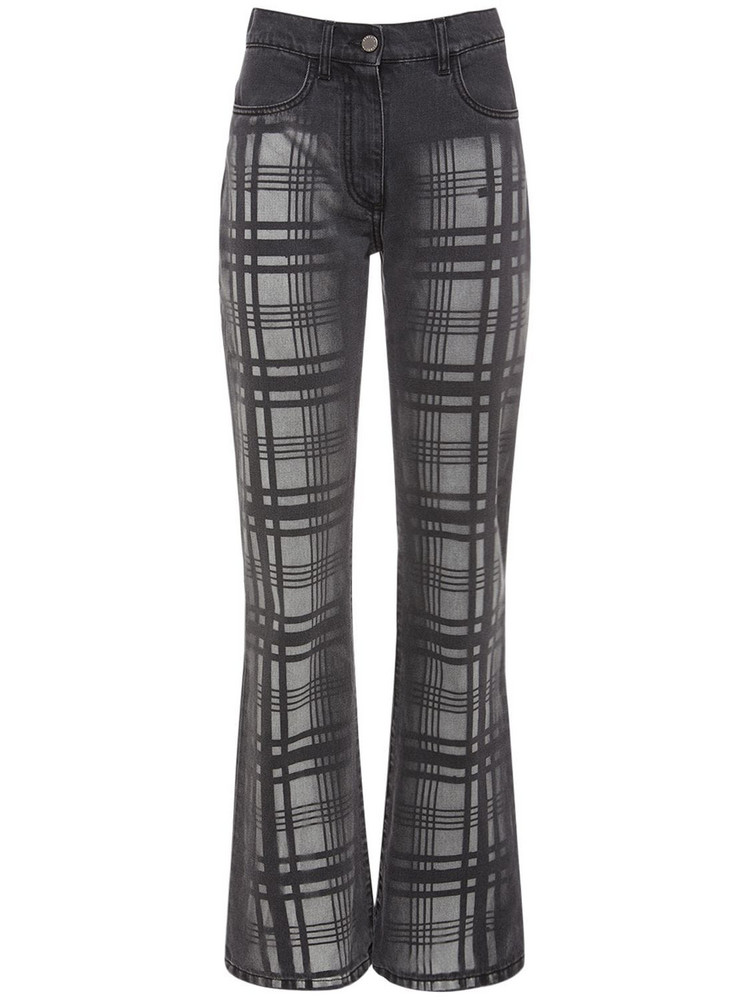 ALBERTA FERRETTI Cotton Denim Straight Leg Jeans in black / grey