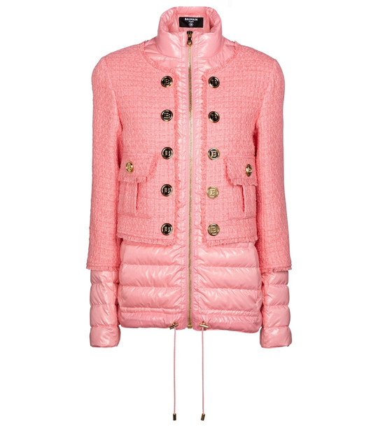 Balmain Tweed and down jacket in pink