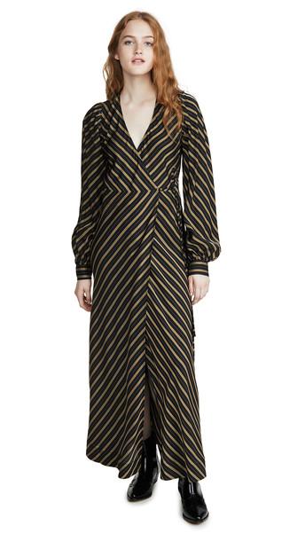 GANNI Viscose Stripe Dress in black