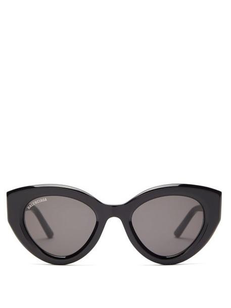Balenciaga - Cat-eye Acetate Sunglasses - Womens - Black Grey