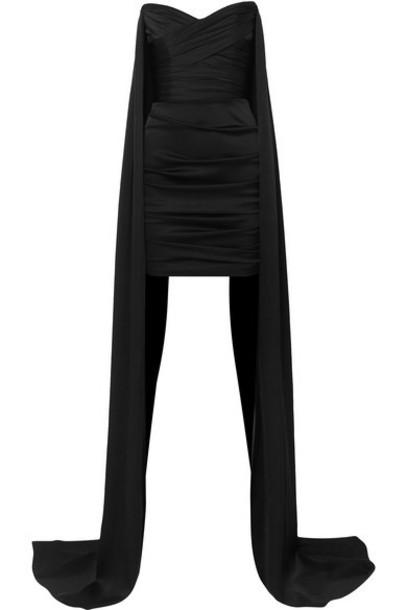 Alex Perry - Tristan Draped Satin Mini Dress - Black