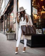 bag,maxi bag,louis vuitton bag,pumps,white jeans,skinny jeans,long coat,blouse,hat