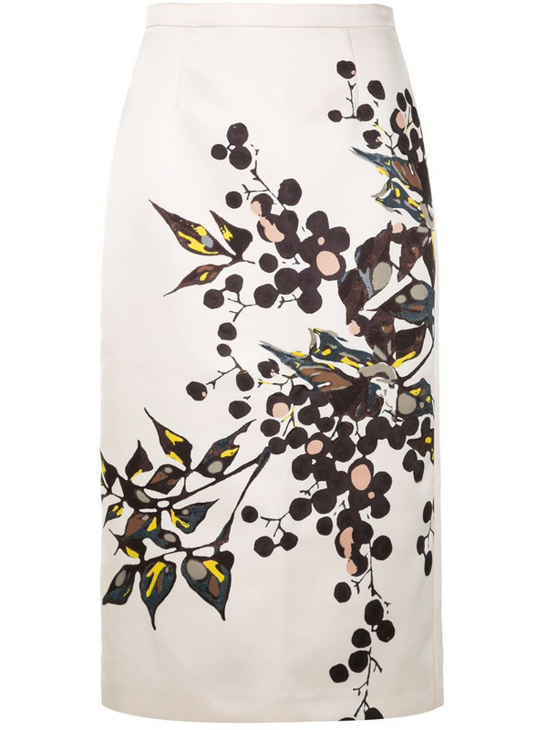 Rochas floral print pencil skirt in white