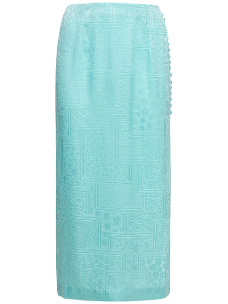 ROTATE Caitlin Viscose Blend Satin Midi Skirt in turquoise