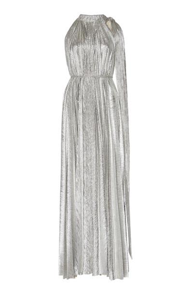 A.W.A.K.E. MODE Asymmetric Metallic Plissé Gown Size: 36 in silver
